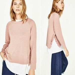 Pink Zara Sweater with side ruffles Size M